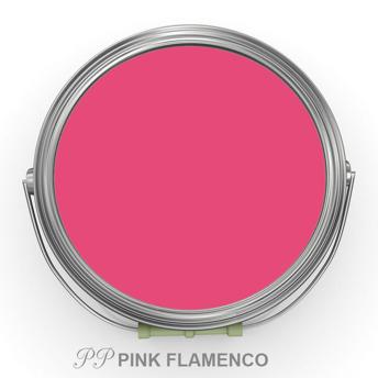 PP Pink Flamenco - Vintage Handmålad tag 3x6 cm