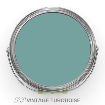 PP Vintage Turquoise - Vintage Handmålad Tag 3x6 cm