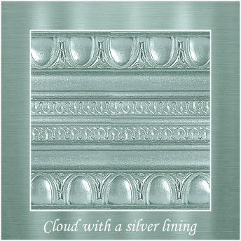 Cloud with a silver lining - PP Metallic handmålad tag ca 5x8 cm
