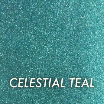 Autentico Metallico Celestial Teal - Handmålad tag ca 5x8 cm