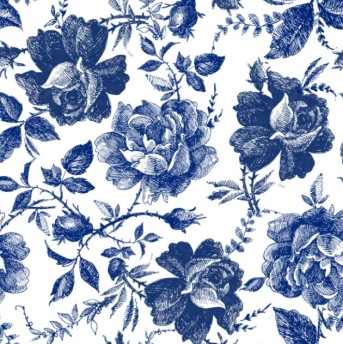 BLUE SKETCHED FLOWERS Belles & Whistles Rice Papers: 3st ark à 30x32cm -