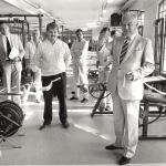 RÖRANDE 1985-63 Landshövning Bertil Göransson inviger Baltic Rehabs klinik i Baltic Clubs gym