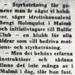 RÖRANDE SYDSVENSKAN 1975-4B,FÖRSTA ARTIKELN OM BALTIC CLUB