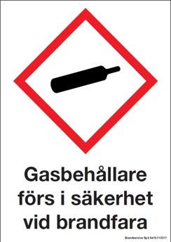 Gasbehållare förs i säkerhet vid brandfara - 210x297 mm i aluminium