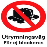 Utrymningsväg får ej blockeras