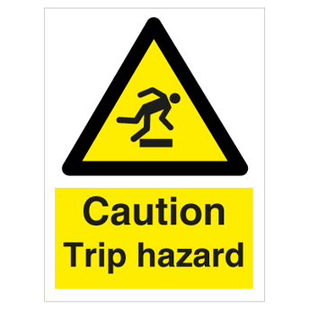 Caution Trip Hazard - Photoluminescent Self Adhesive Vinyl