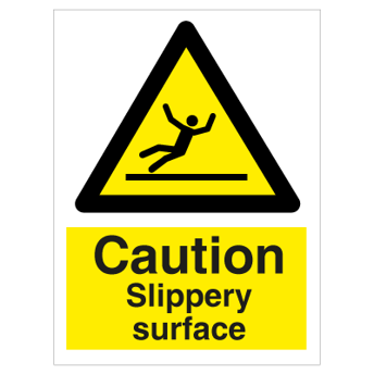 Caution Slippery Surface - Photoluminescent Self Adhesive Vinyl