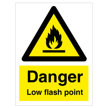 Danger Low Flash Point - Photoluminescent Self Adhesive Vinyl