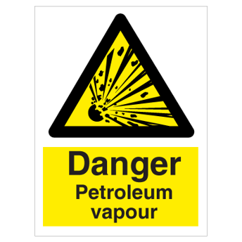 Danger Petroleum vapour - Photoluminescent Self Adhesive Vinyl