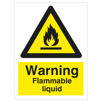 Warning Flammable liquid - Photoluminescent Self Adhesive Vinyl