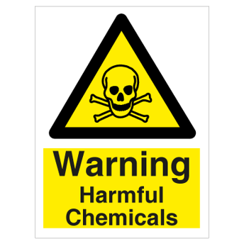 Warning Harmful Chemicals - Photoluminescent Self Adhesive Vinyl