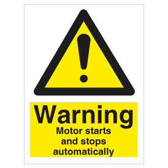 Warning Motor starts and - Photoluminescent Self Adhesive Vinyl