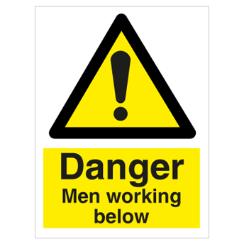 Danger Men working below - Photoluminescent Self Adhesive Vinyl