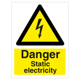 Danger Static Electricity - Photoluminescent Self Adhesive Vinyl