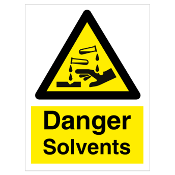 Danger Solvents - Photoluminescent Self Adhesive Vinyl