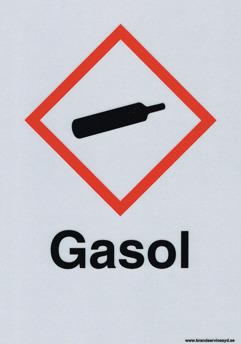 Varningsskylt Gasol - 210 x 297 mm i Alu