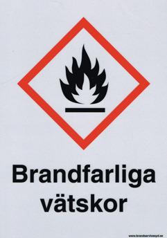 Varningsskylt Brandfarliga Vätskor - 210 x 297 mm i Alu