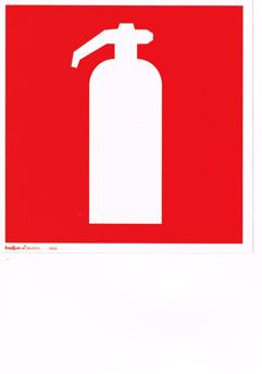 Efterlysande Handbrandsläckare skylt - 200 x 200 mm i aluminium eft.lys.