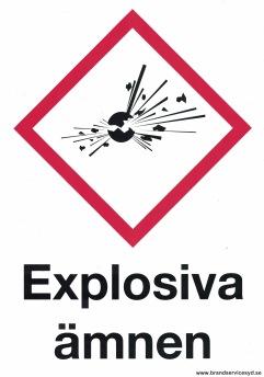 Skylt Explosiva ämnen - 210 x 297 mm i aluminium