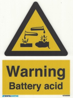 Warning Battery Acid - Photoluminescent Self Adhesive Vinyl