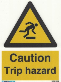 Caution Trip Hazard - Photoluminescent Self Adhesive Vinyl