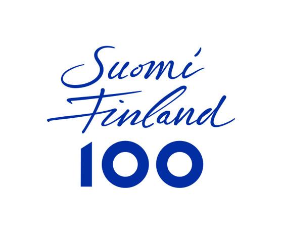 Officiell logga för Finlands 100-årsfirande.