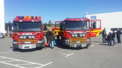 Räddningstjänsten på plats vid Riksettanrallyt. Även Samaritbilen deltog.