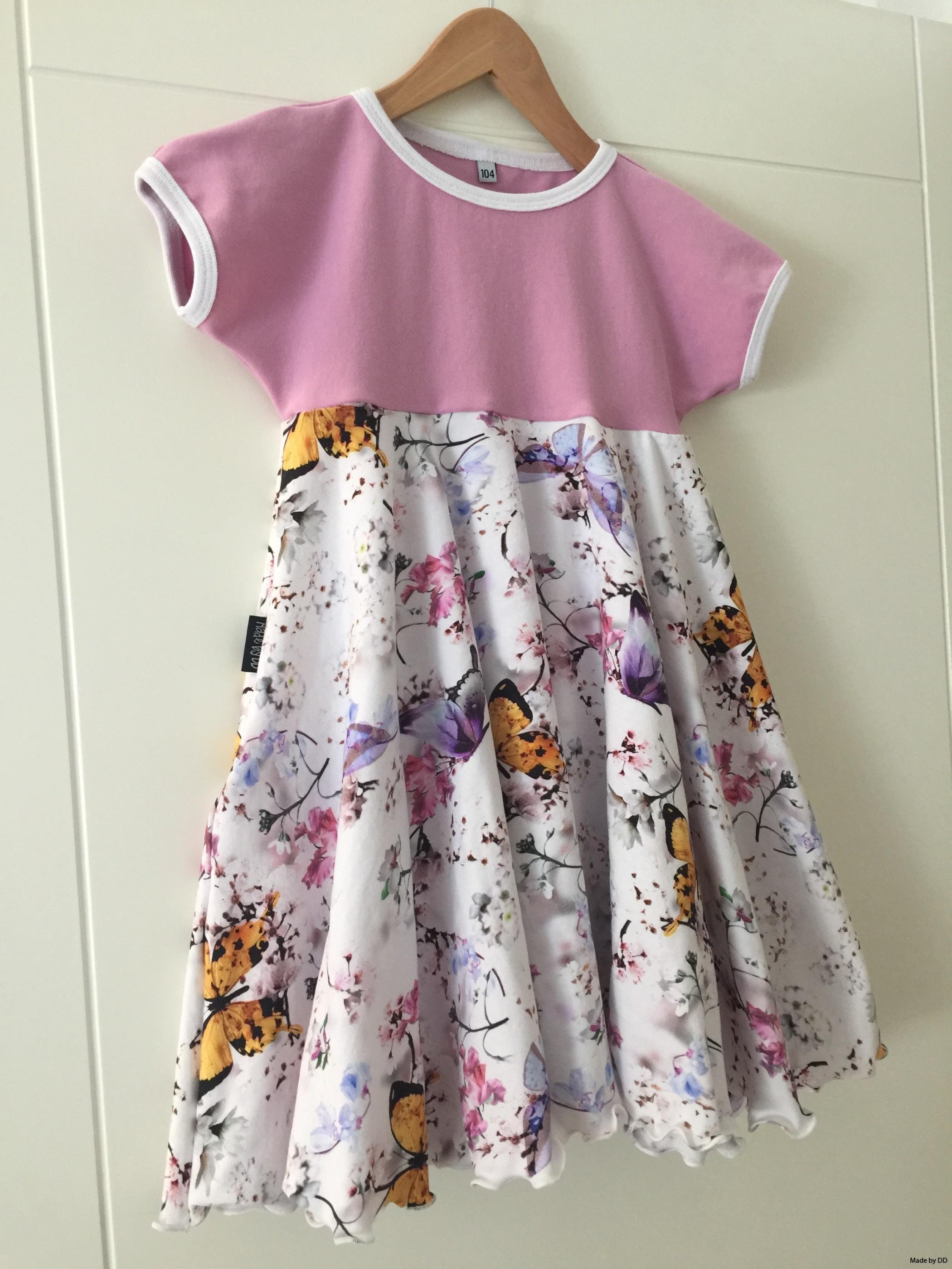 Snurr klänning Made by DD fjärilar rosa GOTS