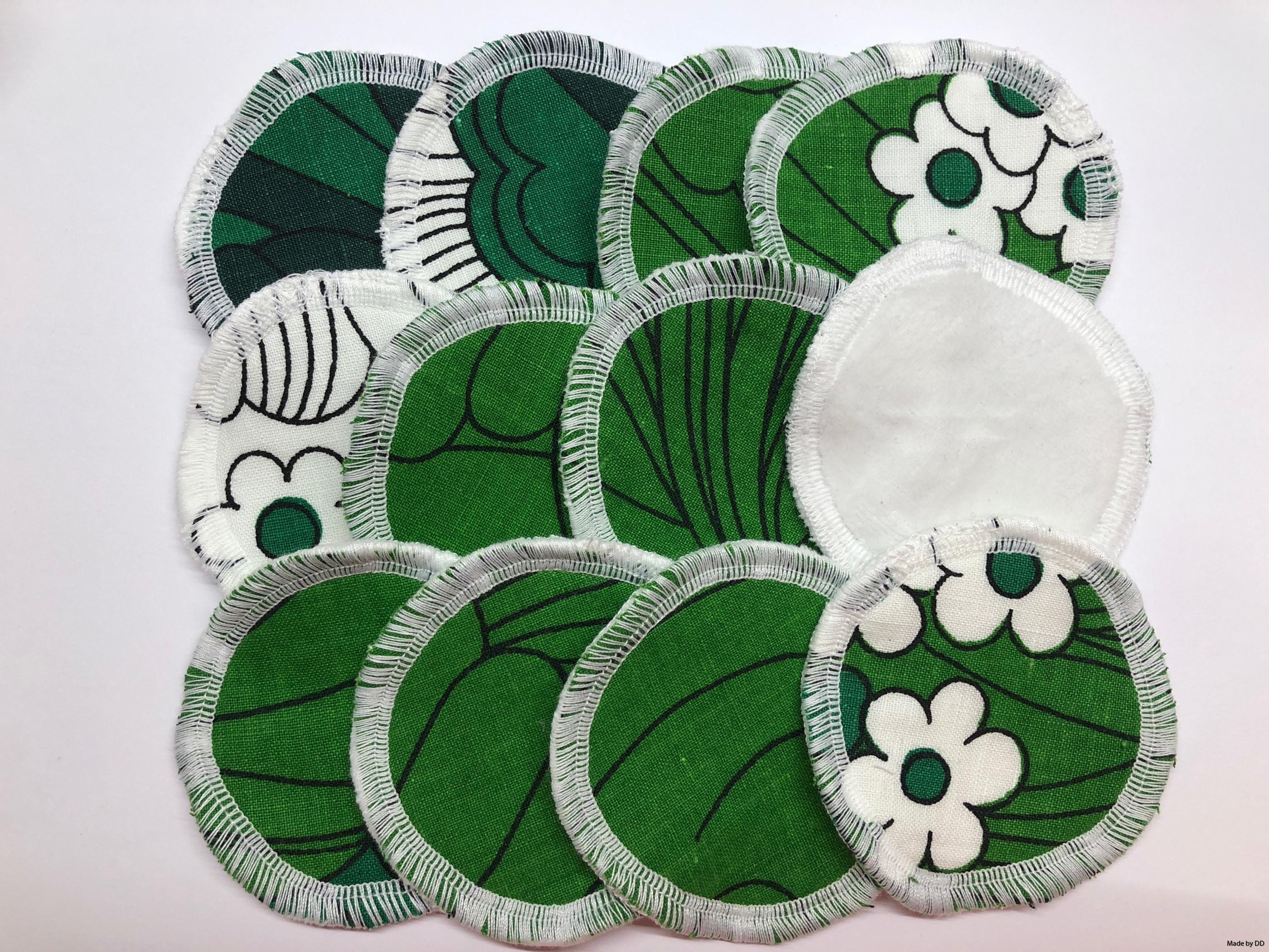 Rengöringspads rengöringsrondeller bomullsrondeller återbruk sjuttiontalstyg bomullsvelour ekologiskt GOTS made by dd grön