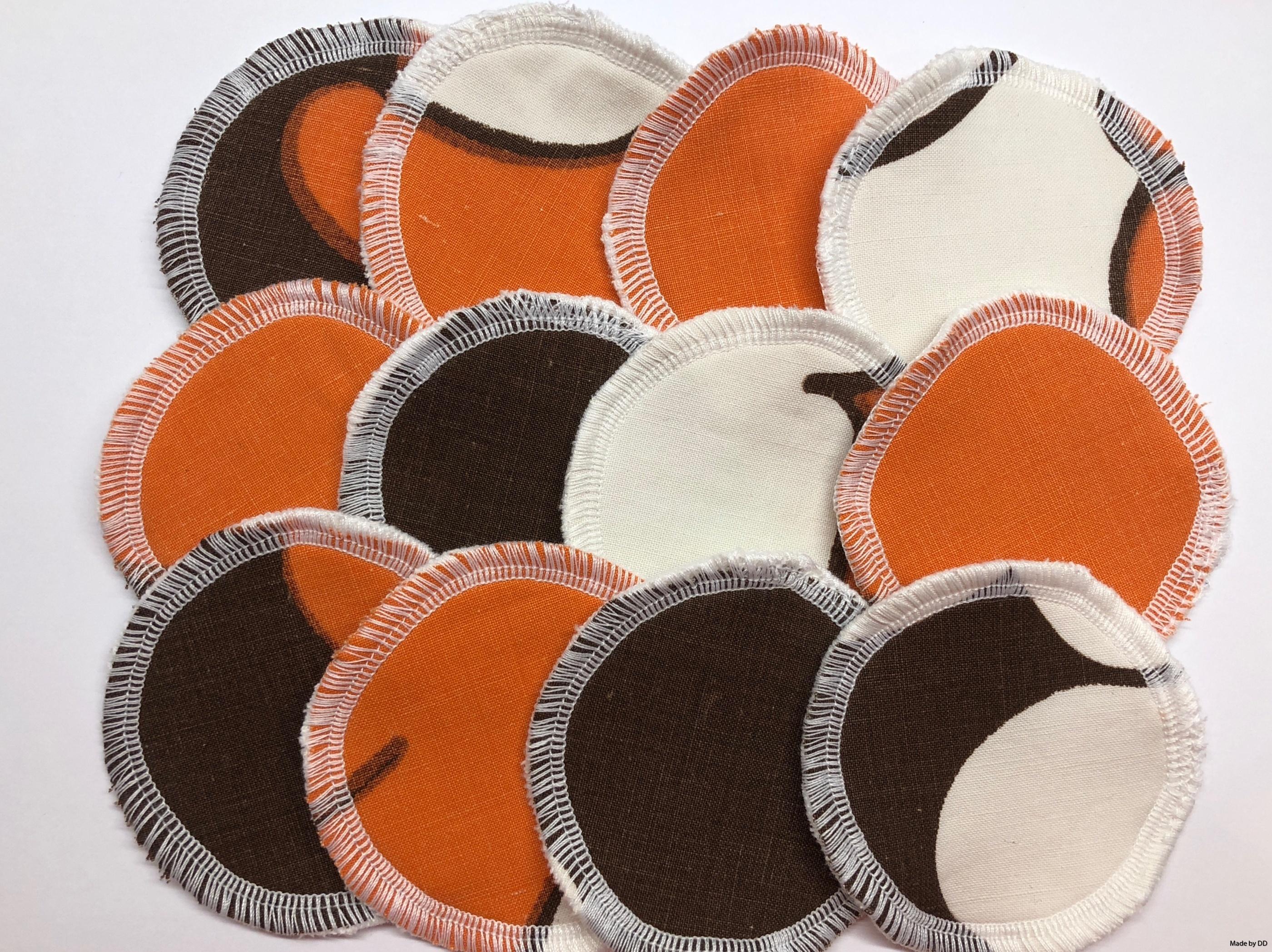 Rengöringspads rengöringsrondeller bomullsrondeller återbruk sjuttiontalstyg bomullsvelour ekologiskt GOTS made by dd orange brun