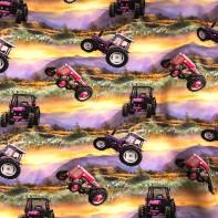 Trikå Pink Tractor eko GOTS made by dd