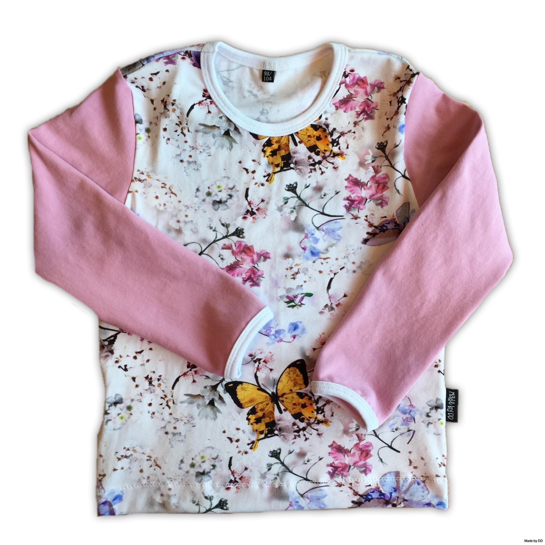 Tröja Made by DD fjärilar rosa GOTS