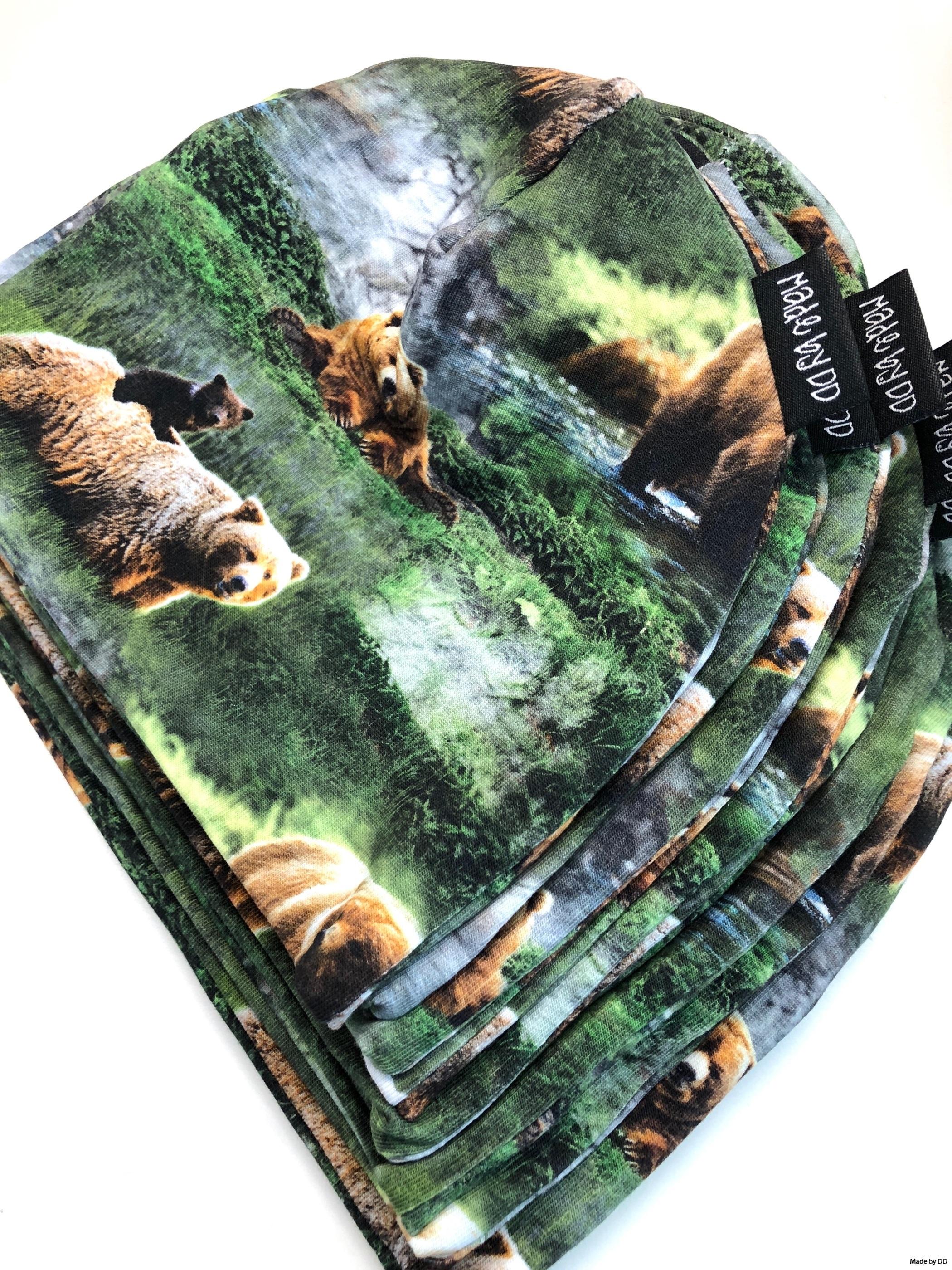 Mössor beanies ekologiska GOTS björnar bears Made by DD