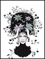 Black crazy flower