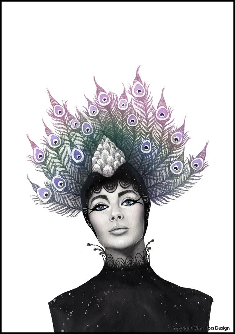 Lady Peacock farg med ram