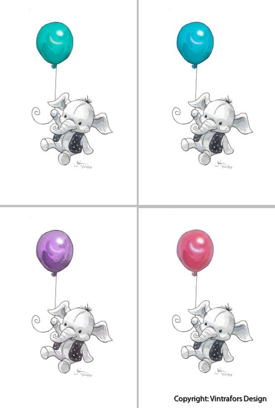 fargade elefanter
