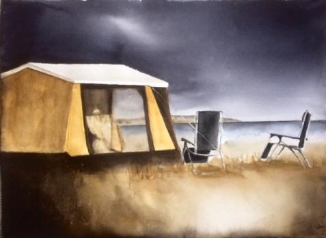 Blå Camping 75x55