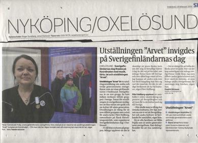 En artikel i Södermanlands nyheter om utställningen