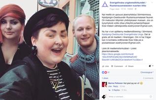 Foto från Sverigefinska ungdomsförbundets Facebook-sida