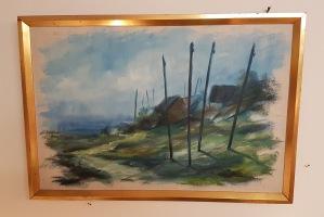 """Olja på duk Carl Julius. """"Västskånskt lustband"""", yttermått ram 63,5x43,5 cm. Signerad på baksidan. 400 SEK"""