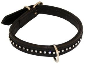 HALSBAND LÄDER MED STRASS  18mm - Halsband läder med strass 18mm 25cm