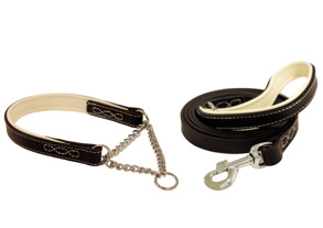 Black & White,black&red halsband skinn - Newton black&white 40cm
