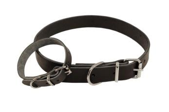 Läder svart, brunt, rött, natur skinn - Halsband svart 25cmx12mm