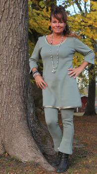 Florentina 103 - Florentina 103, klänning, trekvartsärm,ulltrikå,gråblå
