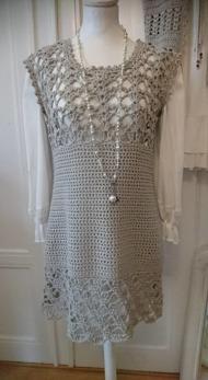 Salsa - Salsa klänning, handgjord, bomull, ljusgrå