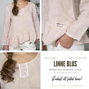 Linne Blus, LaxRosa - LinneBlus i rosa, storlek M/L