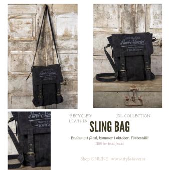 SlingBag, Black - Sling bag, recycling leather, black