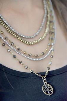 Smycken - Jewellery - Halsband 5 lager med olika pärlor