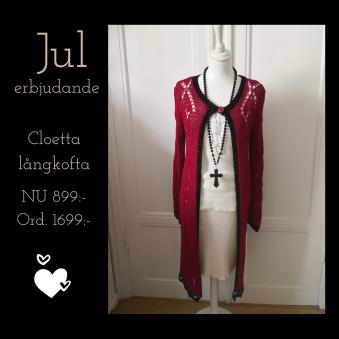 Cloetta Lång kofta - Cloetta long, julpris storlek S - röd-svart