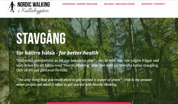 """Startsidan för hemsidan """"Nordic Walking"""", med logotyp längst upp till vänster & menyrad högerställd"""